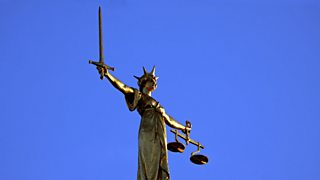 Statue of Justice as seen on the top of the Old Bailey