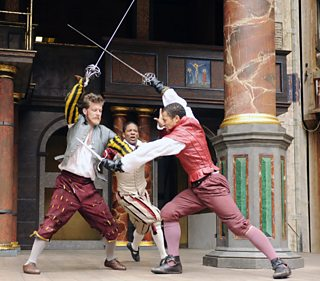 Tybalt fights with Mercutio, Romeo tries to stop them