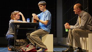 Photo from a stage production of Curious Incident of the Dog in the Night-Time showing Roger Shears, Christopher and Judy