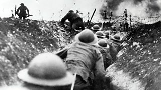 Photo of British troops going over the top of the trenches during the Battle of the Somme, 1916