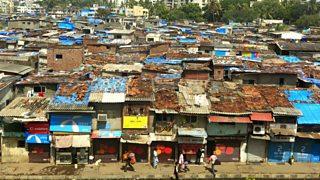 A birdseye view photo of slums in Mumbai