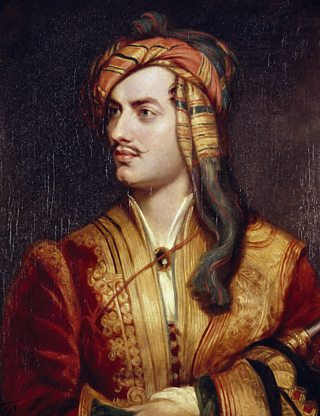 A portrait of Lord Byron in Albanese costume.