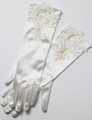 A pair of white gloves