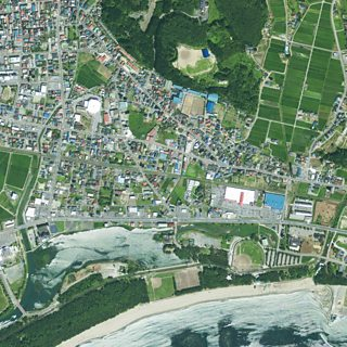 Satellite image showing the landscape before an earthquake