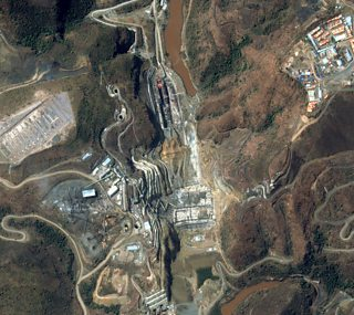 Satellite image of construction of a dam on the Nile in Ethiopia