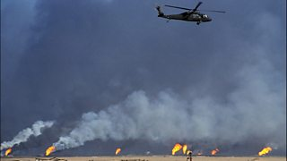 Burning oil fields after the Iraqi retreat from Kuwait in 1991