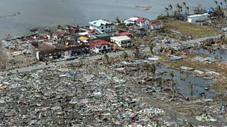 Destroyed houses in the city of Tacloban after Typhoon Haiyan