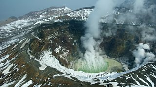 Mount Aso in Japan is one of the world's most active volcanoes