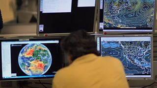 Computer-modelling software tracks tropical storms at the National Hurricane Center, Florida.
