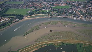 An aerial view of an estuary and mudflats