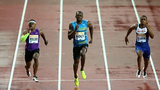 Usain Bolt wins the 100 metres