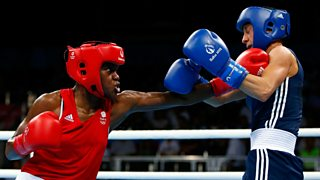 Britains Nicola Adams In Red Lands A Punch To The Chin Of Polands Sandra