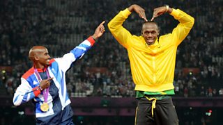 Distance runner Mo Farah and sprinter Usain Bolt performing each other's signature move at the London Olympic Games in 2012