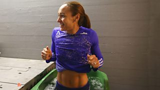 Jennis Ennis-Hill recovers in an ice bath after completing the heptathlon