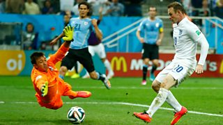 Wayne Rooney scores England's first goal against Uruguay at the 2014 World Cup