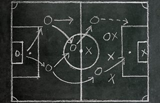 Tactics for a football game drawn on a chalkboard