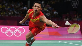 Chinese badminton player competing in a gold medal match at the 2012 Olympics