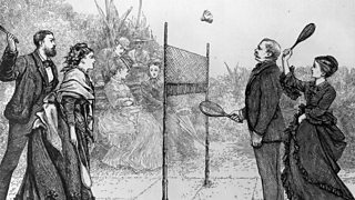 A game of badminton mixed doubles in its early days in British India