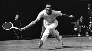 British player Fred Perry in action at Wimbledon in 1935