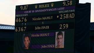 The scoreboard at Wimbledon during the longest match in Grand Slam history in 2010. Fought between John Isner and Nicolas Mahut, Isner won, with a score of 6-4, 3-6, 6-7, 7-6, 70-68