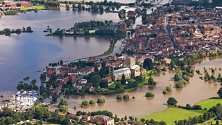 Aerial view of flooding in Tewkesbury, Gloucestershire