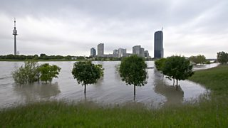 A photo showing controlled flooding in Vienna.