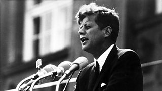 Image of John F Kennedy giving his famous Berlin speech