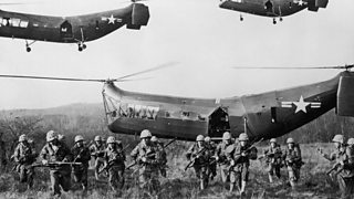 Image of US troops emerging from helicopters during the Korean war in 1953