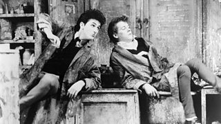 Kevin Bacon and Sean Penn portraying Phil and Spanky from Slab Boys