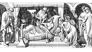 Illustration showing the death of Edward The Confessor