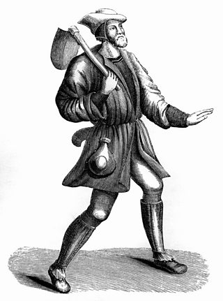 Illustration depicting the costume of a villein