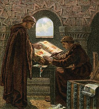 Illustration representing the compilation of the Domesday Book
