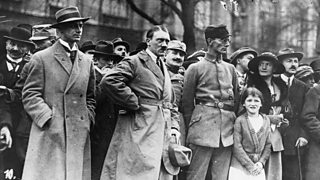 Photo of Adolf Hitler, Alfred Rosenberg (left) and Dr Friedrich Weber of the Freikorps Oberland (Oberland Free Corps), during the Munich Putsch
