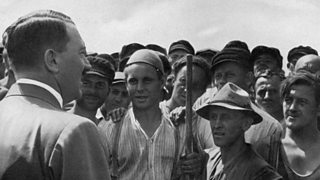 Photo of Adolf Hitler meeting industrial workers in Germany