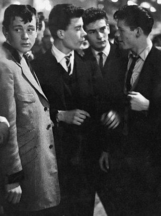 Teddy Boys gathering in Tottenham, London in 1954