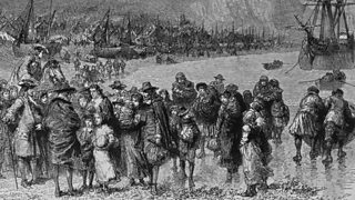 Painting of French Protestant Huguenot refugees arriving on the English coast at Dover in Kent, 1685.