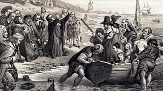 Illustration depicting the Pilgrim Fathers, members of English Separatist Church sect of Puritans, leaving Delft Haven on their voyage to America July 1620.