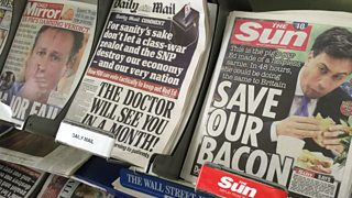 Photograph of newspaper front pages from May 2015
