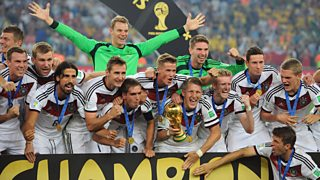 Germany celebrate with the trophy following the 2014 World Cup Final match between Germany and Argentina at Maracana Stadium on July 13, 2014 in Rio de Janeiro, Brazil.