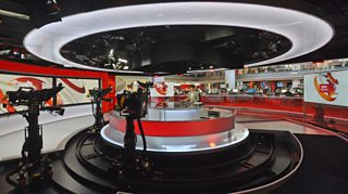 Photograph of the BBC News studio at New Broadcasting House