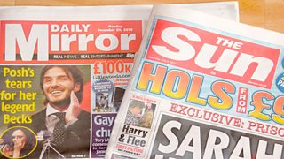 Photograph of tabloid newspapers