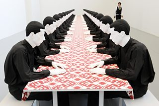 Company at the Table (Tischgesellschaft), Katherina Fritsch, 1988, polyester, wood, cotton and paint