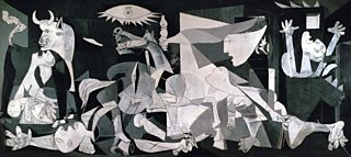 Black and white abstract painting of bombing of a Spanish town