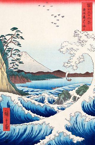 The Sea at Satta in Suruga Province, from Thirty-six views of Mount Fuji, Utagawa Hiroshige, 1858, woodblock print, V&A Images / Alamy Stock Photo