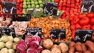 Vegetable stand at a marketplace in Vienna, Austria