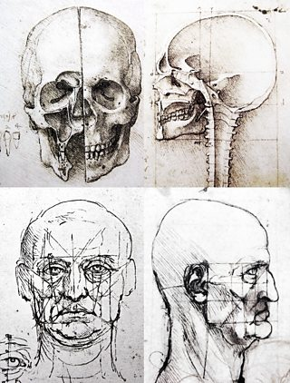 Sketches of the Human Head, Leonardo da Vinci, c.1489-90, pen and ink,Coston Stock / Alamy Stock Photo