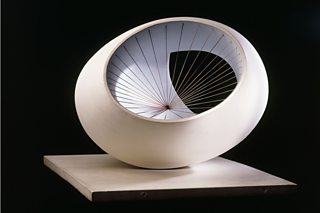 Sculpture with Colour (Oval Form) Pale Blue and Red, Barbara Hepworth, 1943, wood and string, Christie's Images / Bridgeman Images