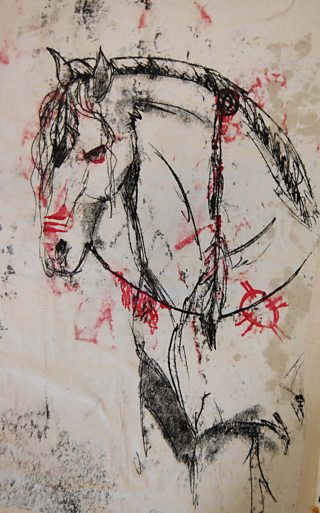 Student black and red monoprint of a horse