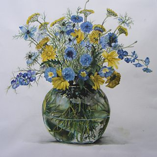 Student watercolour painting of a vase of flowers