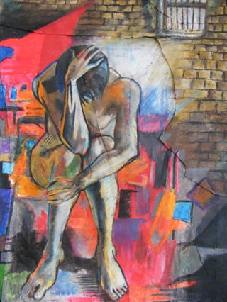 Student pastel painting figure against abstract colours and brick wall